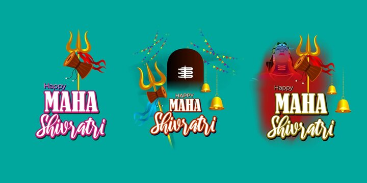 Vector illustration of Maha Shivratri stickers with bells and God Shiva, Hindu festival Shivratri clip art