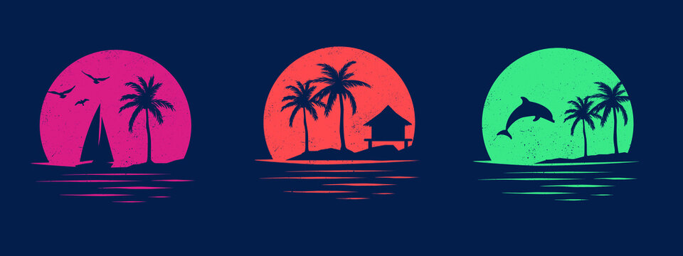 Collection of vector graphics with holiday themes. Set of designs for apparel. Silhouettes of dolphin, beach, palm trees, birds and yachts.