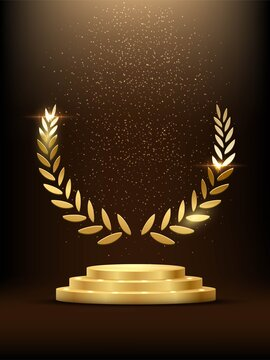 Golden podium with laurel glowing. Gold stage with glitter and light fog on dark background. Hollywood fame in film and cinema or championship in sport vector illustration