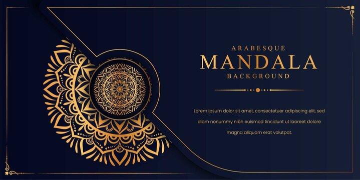 Luxury mandala background with golden arabesque pattern Arabic Islamic east style. Decorative mandala for print, poster, cover, brochure, flyer, banner.