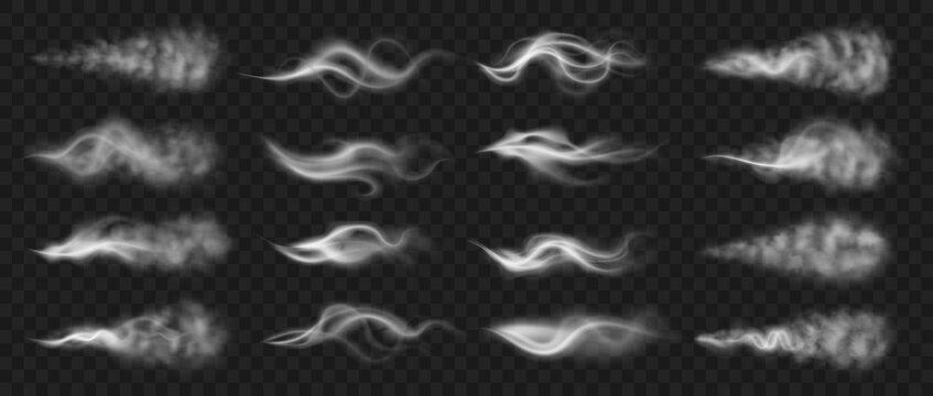 Steam effect. Realistic smoke and vapor from hot food or drink. White hookah fume motion. Isolated burning cigarette trail. Collection of horizontal smoky traces on transparent background, vector set