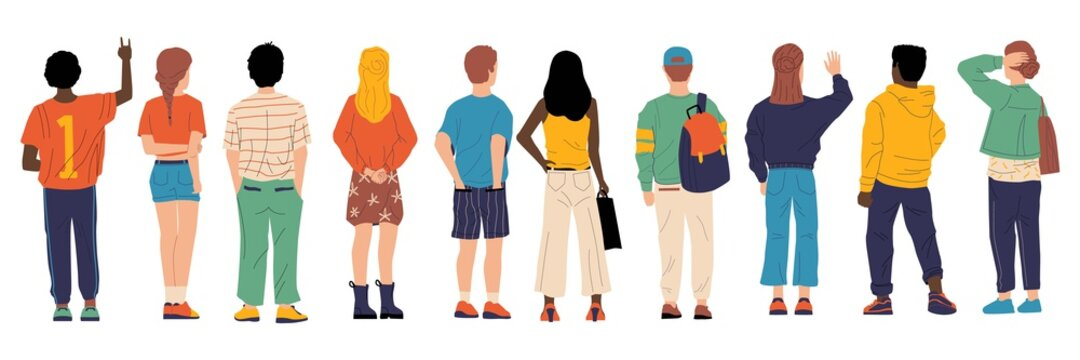 People from behind. Man and woman person's back, young cartoon characters standing together, crowd male and female from back side with bags vector group of boy and girl backside flat isolated set