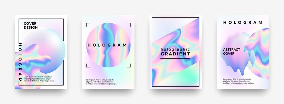 Holographic posters. Gradient minimal iridescent foil graphic mesh, neon purple and pink 90s trendy effect. Vector abstract hologram cover collection, pearlescent horizontal minimal background set