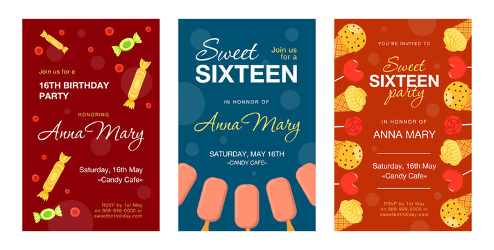 Invitation cards with candies and ice cream set. Cones, sweets, bars, lollypop vector illustrations with text, time and date. Birthday party and dessert concept for posters and flyers design