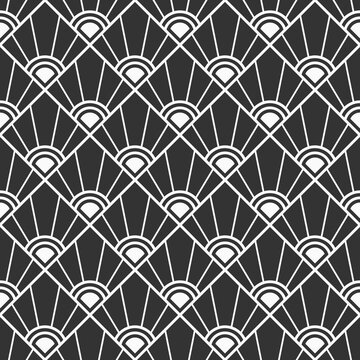 Abstract geometric pattern seamless pattern. Striped rhombuses. Art deco sunburst pattern. Background for cloth, fabric, textile, package, wallpaper. Burst lines. Vector monochrome background.