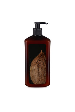 Brown glossy plastic bottle with pump dropper and with the image of a coconut isolated on white background.