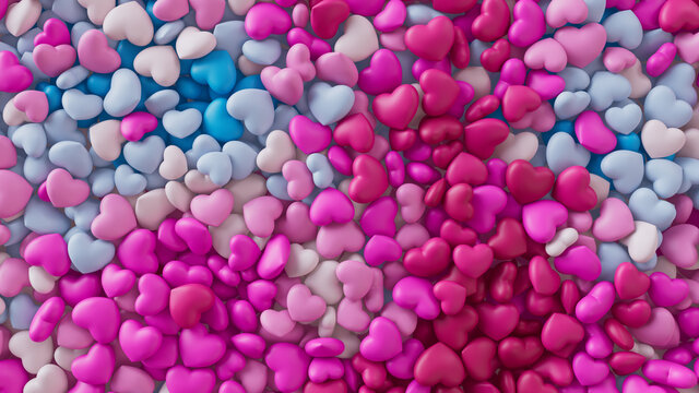 Multicolored Heart background. Valentine Wallpaper with Pink, White and Blue love hearts. 3D Render