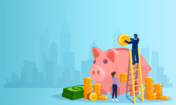 Vector of a man and a woman depositing money in a piggy bank