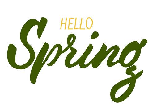 Hello Spring Brush lettering isolated. Handwritten vector Illustration. Modern brush calligraphy.