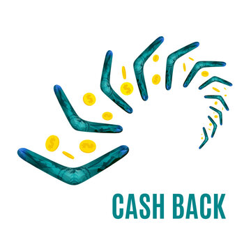 Cash back reward concept. Turning back boomerang with gold dollar coins in the sky. Money rebate design template in cartoon style. Vector illustration. Perfect for credit card companies.