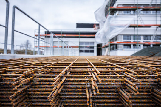 Steel rods and bars for reinforced concrete at new building construction site