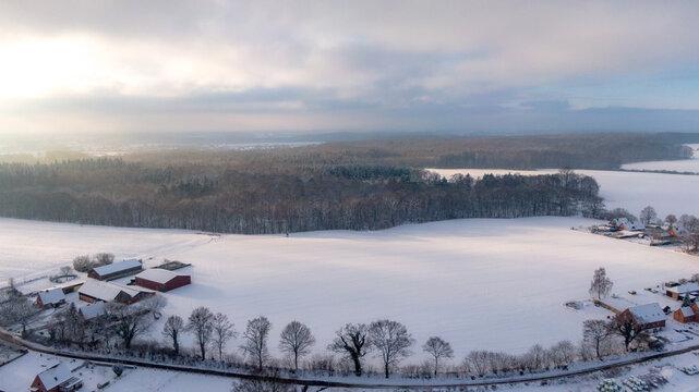 Verschneiter Acker am Ortsrand, Waldrand im Winter