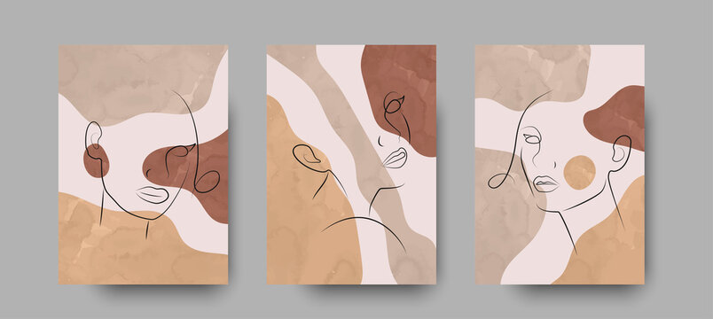 Minimal abstract woman beauty poster. Set of modern woman portrat line drawing with pastel colors in boho style. Girl portrait, watercolor vector background for card, spa and wall art. Luxury interior