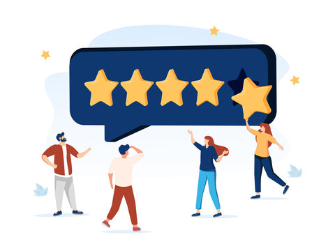 People Characters Giving Five Star Feedback. Clients Choosing Satisfaction Rating and Leaving Positive Review. Customer