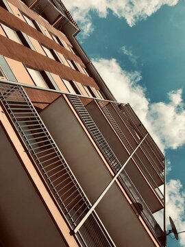 Low Angle View Of 1960 Residential Building Against Sky