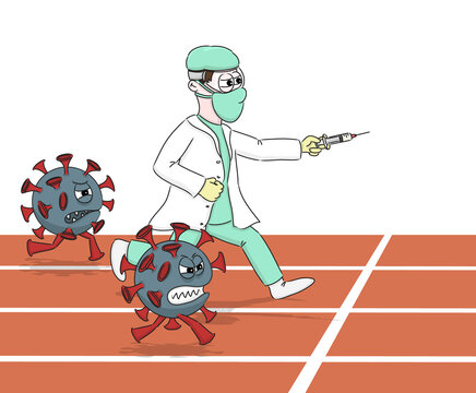 Vaccination and Covid-19. Race in the running of a doctor with a vaccine against coronavirus.