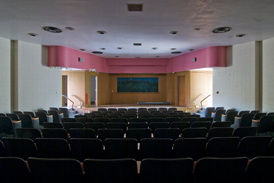 Interior view of a small abandoned theater