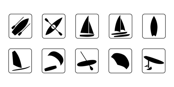Watersports icons set. Surfing, kiteboarding, windsurfing, sailboat, catamaran, hydrofoil, kayaking, foil wing, boat and sup boarding. Extreme kinds of sports signs and symbols collection.