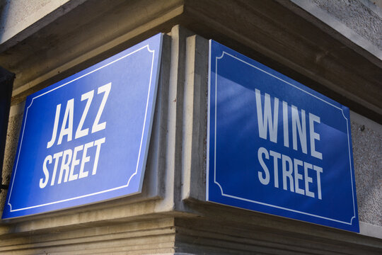 Wall street name sign with the writing ''jazz street'' and ''wine street'' in Old town Dorcol, Belgrade, Serbia.