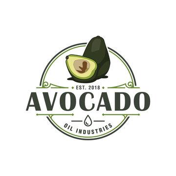 Vector graphic of avocado logo vintage badge or emblem