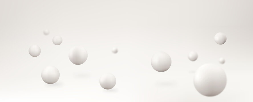 Abstract background with 3d shapes. Vector realistic spheres.