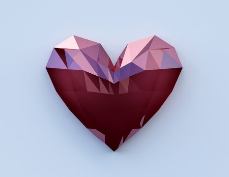 ruby heart shaped stone, amazing gem diamond, 3d render