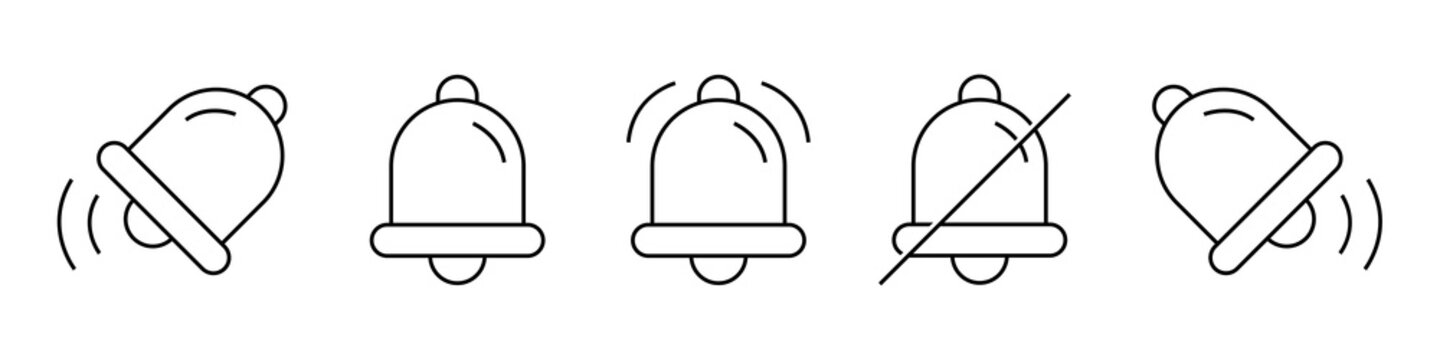 Message notification bell icons set. Notificatiol bells set. Bell line icons set. Incoming inbox icons. Notice reminder alarm ringer call message icons set. Smartphone application. Line style.