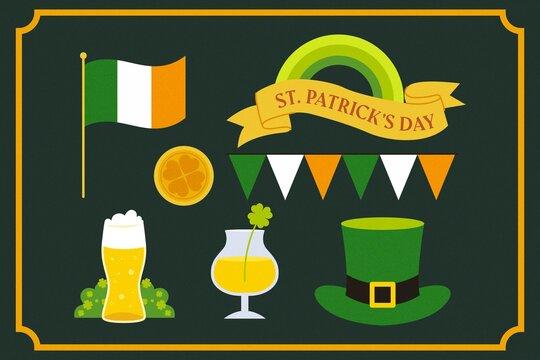 Hand Drawn St Patricks Day Elements Set