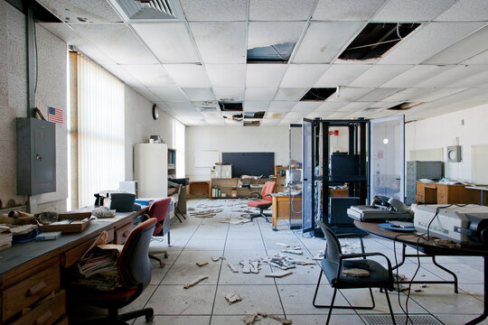 Interior view of server room inside abandoned office