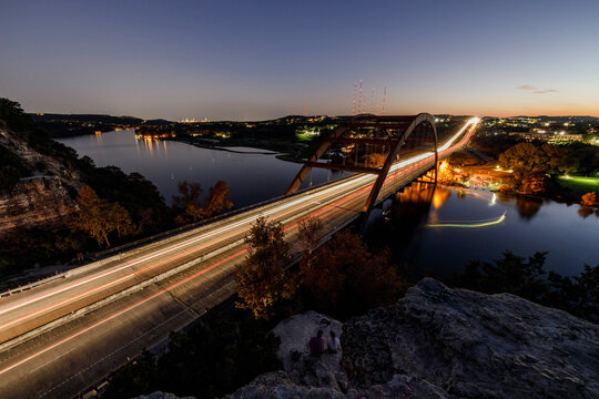 Austin pennybacker bridge at night