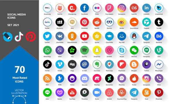 Big Set of Social Media Icons. 70 Most Rated Icons 2021. Facebook, Youtube, Whatsapp, Wechat, Instagram, TikTok, QQ, Weibo, Reddit, Snapchat, Twitter, LinkedIn, Pinterest, Kwai, Discord, Periscope ...