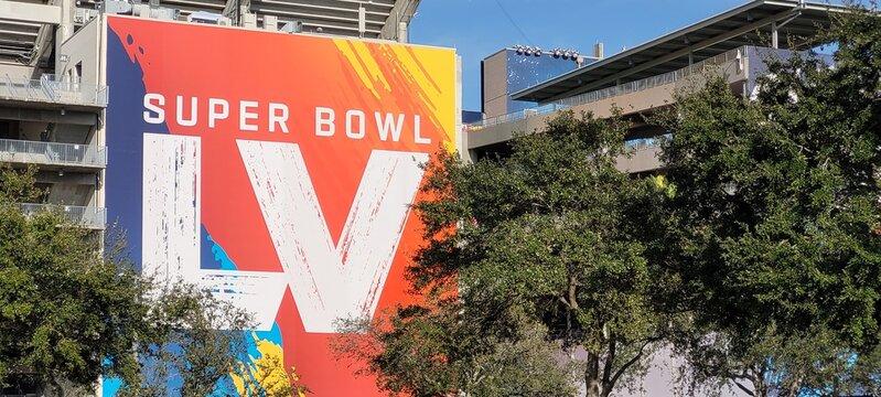 Tampa, Florida February 4 2021: Stadium Main entrance Superbowl LV Venue billboard