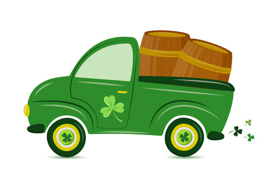 St. Patrick's Day Truck. Vector retro cartoon pick-up truck with shamrock  and beer barrels for Happy Saint Patrick's Day Irish celebration design. Beer festival concept