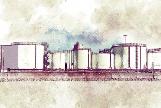 Industrial oil storage graphic illustration