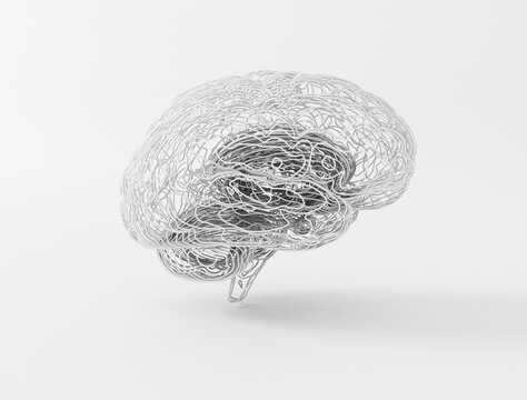 Human brain abstract detailed lines connected neuron network. 3d illustration