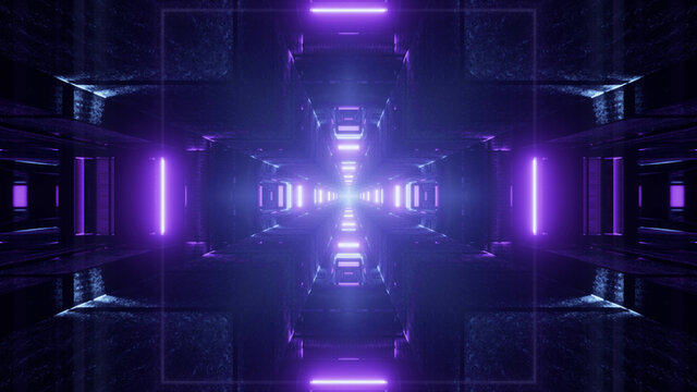 3D rendering of futuristic bright neon purple fractal cross shaped particles in dark