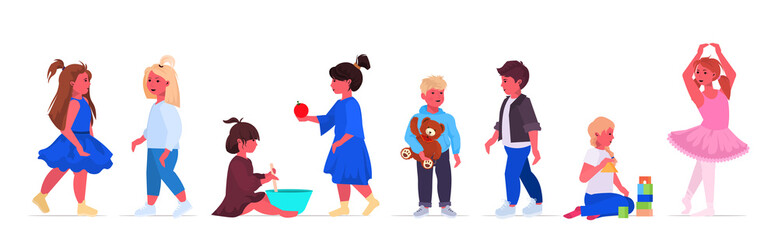 Wall Mural - set little boys girls standing together cute children collection childhood concept female male cartoon characters horizontal full length vector illustration