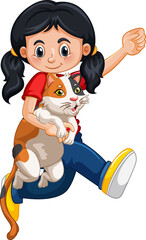 A girl holding cute cat cartoon character isolated on white background