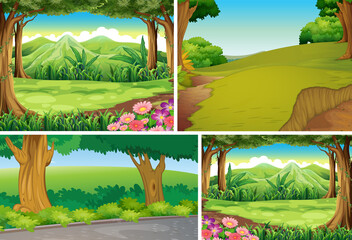 Set of different outdoor nature scene