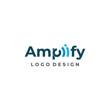 Modern and unique wordmark logo about amplify on a white background. EPS 10, Vector.