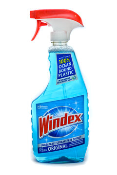 New Jersey, USA - February 6, 2021: A spray bottle of Windex window cleaner.