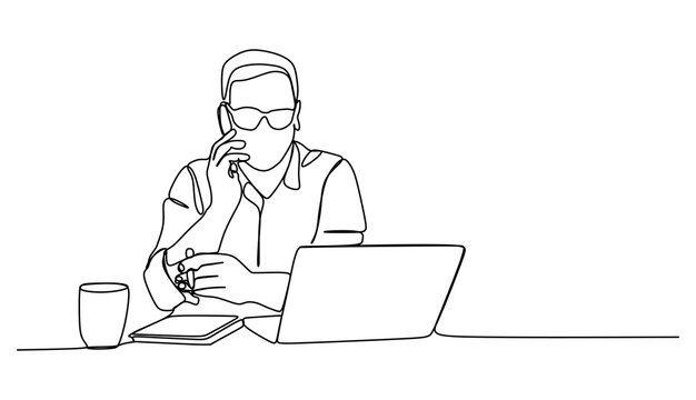 Businessman working in front of laptop and calling his colleague. Continuous one line drawing
