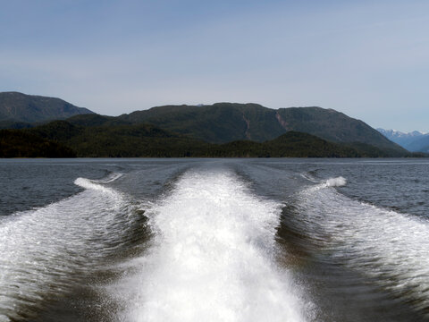 Wake Coming Off The Back Of A Powerboat In The Pacific Ocean.