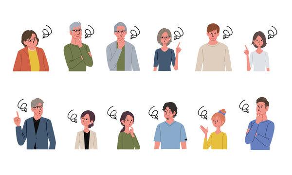 困る表情のイラスト 複数の男女 イラスト セット