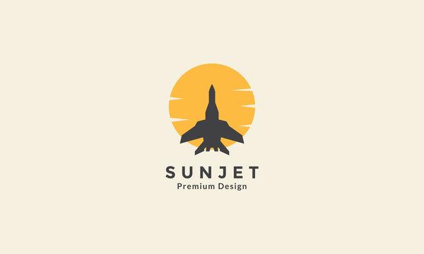 jet plane with sunset circle logo vector icon symbol design graphic illustration