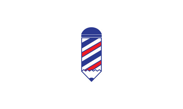 pencil with barber shop logo vector icon symbol design graphic illustration