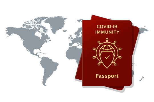 COVID-19 immunity passport concept with world map behind. Shield symbol for being immune and protected from coronavirus and allowed to travel. Vector illustration isolated on white background.