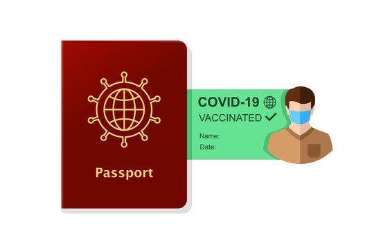 Passport and vaccination certificate concept. Human with a travel document as proof of being vaccinated and allowed traveling.