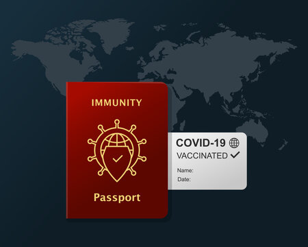 Immunity passport with travel document as certificate of being vaccinated against coronavirus and world map behind. COVID-19 pandemic, vaccination and international traveling concept with world map.