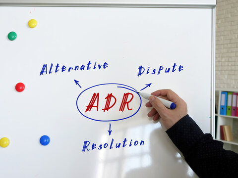 Conceptual photo about ADR Alternative Dispute Resolution . Male hand with marker write on the white board.
